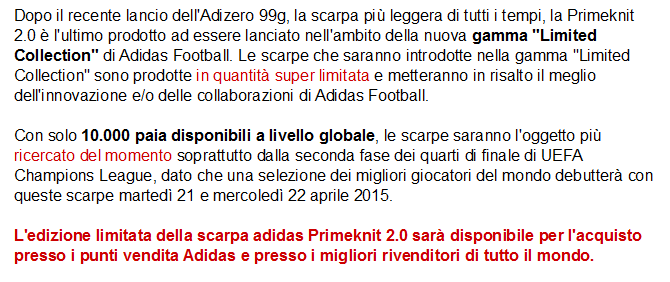 nuove scarpe da calcio adidas primekint 2.0